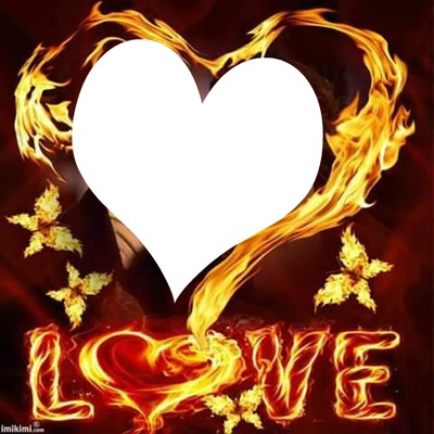 Love et coeur en flame 1 photo