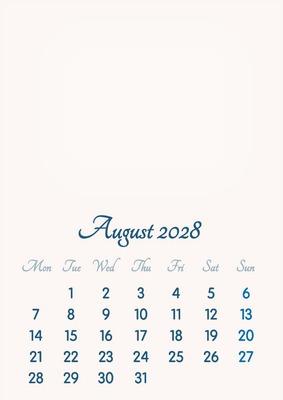 August 2028 // 2019 to 2046 // VIP Calendar // Basic Color // English