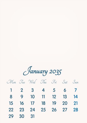 January 2035 // 2019 to 2046 // VIP Calendar // Basic Color // English