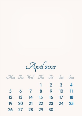 April 2021 // 2019 to 2046 // VIP Calendar // Basic Color // English