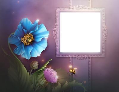 Cadre mauve-fleur bleue-abeille