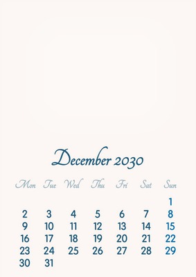 December 2030 // 2019 to 2046 // VIP Calendar // Basic Color // English