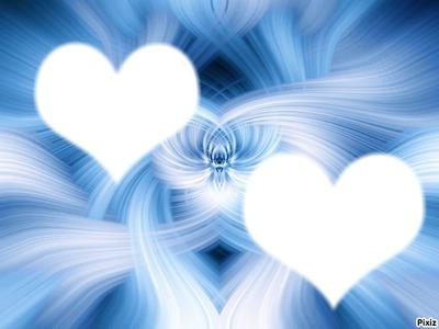 coeur sur bo fond bleu