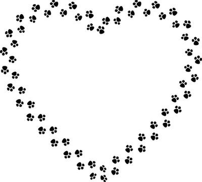 coeur en forme d'empreintes pattes noires 1 photo