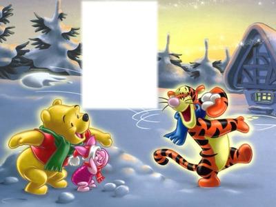 winnie et tigrou bataille boules de neige