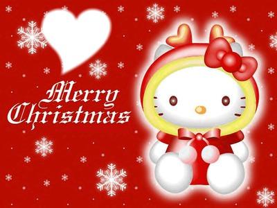 Hello Kitty Merry Christmas.Photo Montage Hello Kitty Noel Pixiz