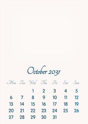 October 2031 // 2019 to 2046 // VIP Calendar // Basic Color // English