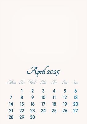 April 2025 // 2019 to 2046 // VIP Calendar // Basic Color // English