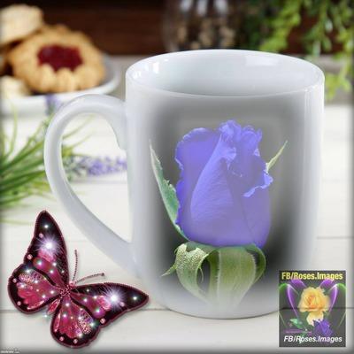 rosa azul en taza