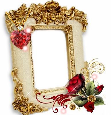 Cc cuadro dorado con rosa y diamante