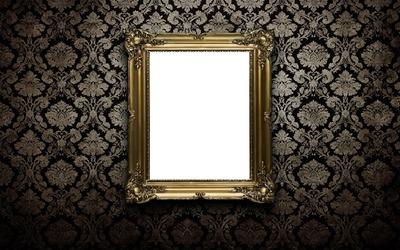 black frame gold wall