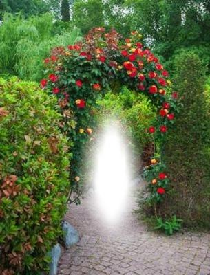 Paisaje con arco de flores