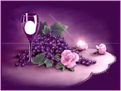 purple wine glass grapes roses