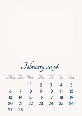 February 2034 // 2019 to 2046 // VIP Calendar // Basic Color // English