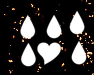 Gouttes de coeur sur fond de paillette