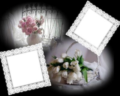 Cadre fleurs dentelle