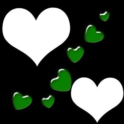 1 cadre avec coeurs verts 2 photos