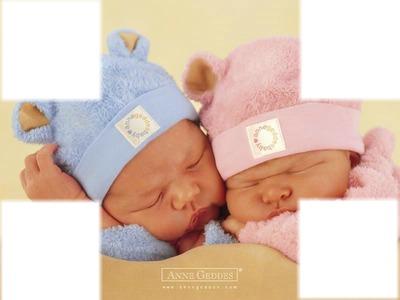 cadre bébé fille et garçon