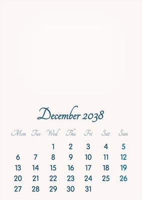 December 2038 // 2019 to 2046 // VIP Calendar // Basic Color // English