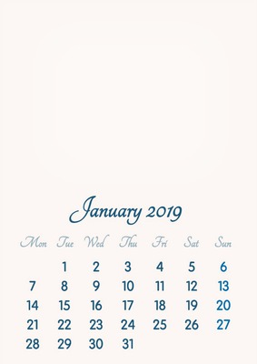 January 2019 // 2019 to 2046 // VIP Calendar // Basic Color // English