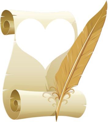 parchemin coeur jaune