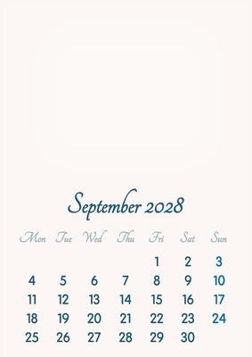 September 2028 // 2019 to 2046 // VIP Calendar // Basic Color // English