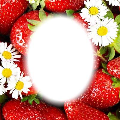 Photo montage strawberry frame - Pixiz