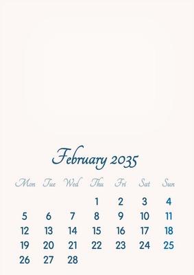 February 2035 // 2019 to 2046 // VIP Calendar // Basic Color // English