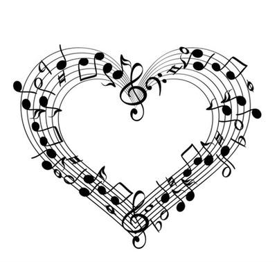 1 cadre coeur avec notes de musiques noir 1 photo