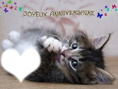 montage photo joyeux anniversaire chat pixiz. Black Bedroom Furniture Sets. Home Design Ideas
