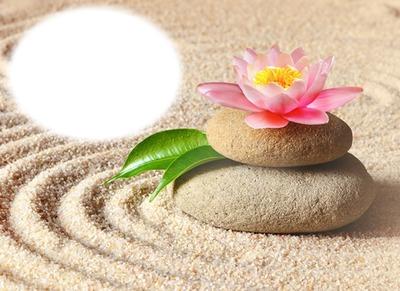 Zen - sable - pierres - lotus
