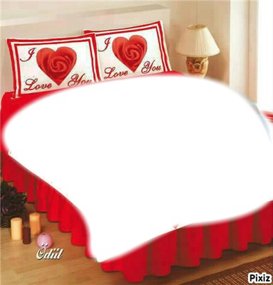 montage photo lit amour pixiz. Black Bedroom Furniture Sets. Home Design Ideas