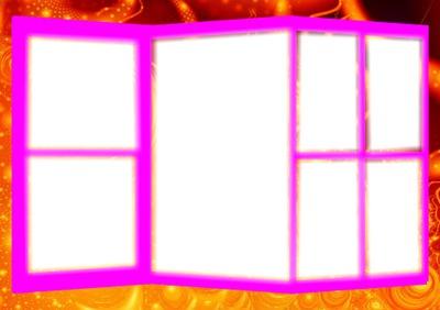 Cadre 7 photos couleur rose