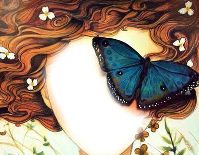 Bello rostro con mariposa