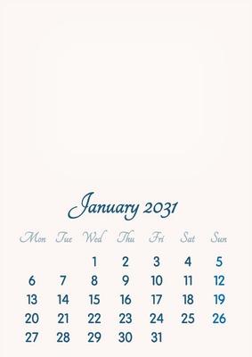 January 2031 // 2019 to 2046 // VIP Calendar // Basic Color // English