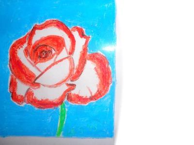 ROSE COULEUR ROUGE ET BLANCHE (pastels et crayons) FAIT PAR GINO GIBILARO