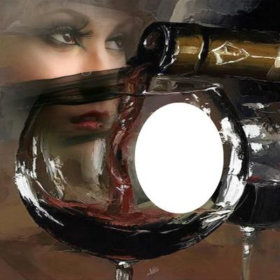 1 photo dans un verre de vin