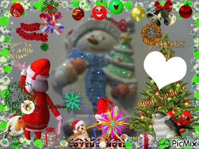 Joyeux Noël avec bonhomme de neige (peint par Gino GIBILARO) et coeur et déco picmix