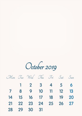 October 2019 // 2019 to 2046 // VIP Calendar // Basic Color // English