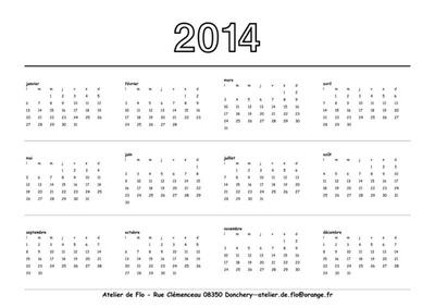 calendrier 4 photos 2014