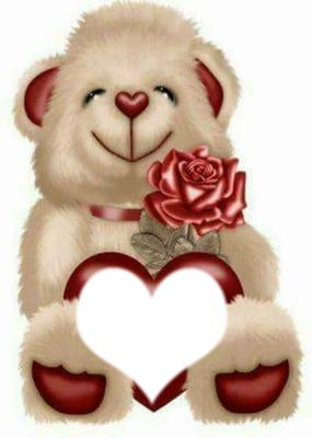 teddy bear & rose