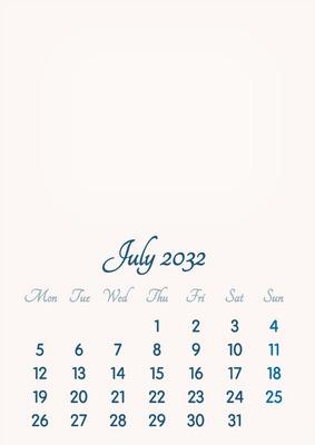 July 2032 // 2019 to 2046 // VIP Calendar // Basic Color // English