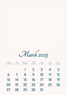 March 2023 // 2019 to 2046 // VIP Calendar // Basic Color // English