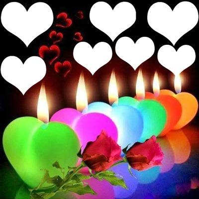 6 bougies coeurs avec 2 roses 7 photos