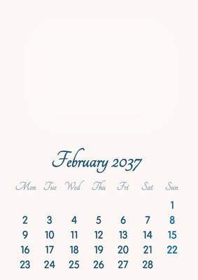 February 2037 // 2019 to 2046 // VIP Calendar // Basic Color // English