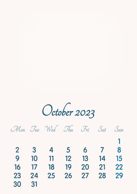 October 2023 // 2019 to 2046 // VIP Calendar // Basic Color // English