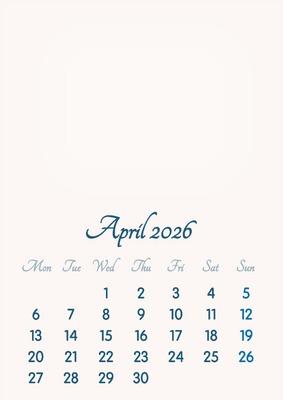 April 2026 // 2019 to 2046 // VIP Calendar // Basic Color // English