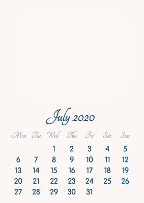 July 2020 // 2019 to 2046 // VIP Calendar // Basic Color // English