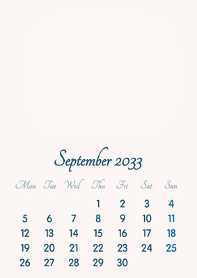 September 2033 // 2019 to 2046 // VIP Calendar // Basic Color // English