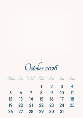 October 2026 // 2019 to 2046 // VIP Calendar // Basic Color // English